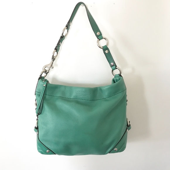 Coach Bags   Leather Carly Bag Jade Green Chain Details   Poshmark d418a041c8